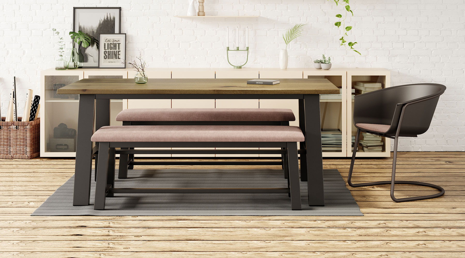 Midtown Upholstered Bench with Midtown Table and Roqa