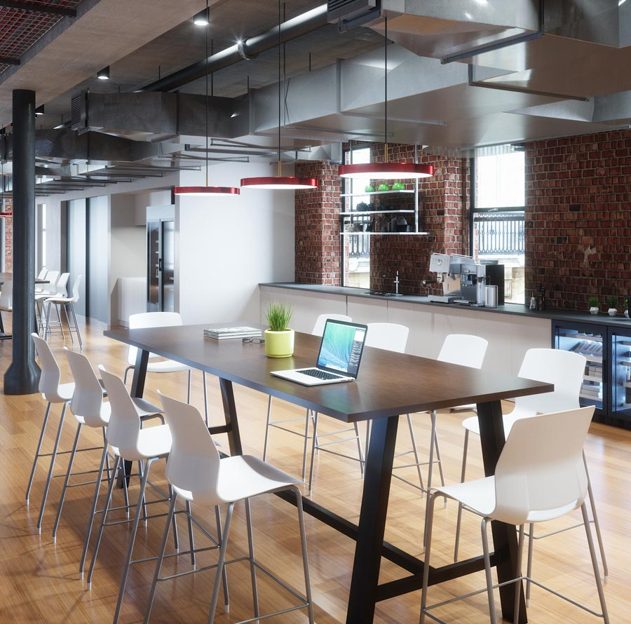 Imme Barstools, Midtown Tables and Asteria Lighting by Umage in breakroom image